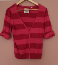 ESPRIT Pink Striped Knit 3/4 Sleeve Cardigan - size 12