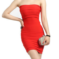 Women Sexy Slim Strapless Dress OL Office Ladies Solid Color Night Party Dress