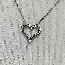 "Beautiful "" Effy "" 14k White Gold Diamond Heart Pendant And Necklace Set"