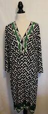 LEONA EDMISTON + ~ Black White Green Geometric V-Neck Shift Dress L ( 20 22 )