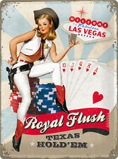 Royal Flush Poker Blechschild 30x40 cm Schild 23179 Pinup Pin Up Texas Hold´em