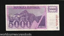 SLOVENIA 5000 5,000 TOLAR P10 1990 PRE EURO MOUNTAIN RARE CURRENCY BILL BANKNOTE