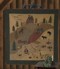 """RUSTIC LODGE CABIN WILDLIFE APPLIQUE QUILTED WALLHANGING 65"""" X 65"""" TEA DYED"""