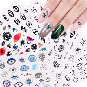 5pcs Evil Eye Series Water Transfer Slider Nail Stickers Tattoos  Adhesive Decal