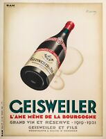 Affiche Originale - Marton - Geisweiler Vin de Bourgogne - Nuits st Georges 1925