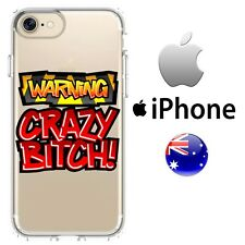 Silicone iPhone Case Cover Cool Crazy FUn Crazy Bitch Back Off Red Warning Quirk