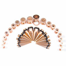 Ear Stretching Kit Rose Gold Tapers & Screws Plugs 14G-00G  36pc