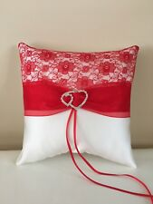 Hand Made Wedding Ring Pillow/White/Pale Ivory&Postbox Red/ 19cmx19 cm/7.5x7.5''