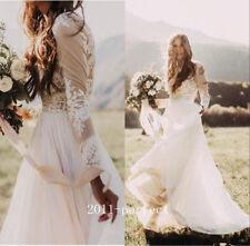 Bohemian Country Wedding Dress Sheer Long Sleeve A Line Lace Chiffon Boho Bridal