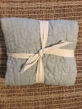 Pottery Barn Belgian Flax Linen Floral Stitch Quilted Standard Sham Porcelain Bl