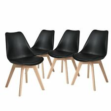 x4 Black Replica Eames Eiffel DSW Dining Chair Beech Wooden Fabric Kitchen black