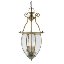 Searchlight 9501-3 Antique Brass 3 Light Lantern Curved Bevelled Glass Shade
