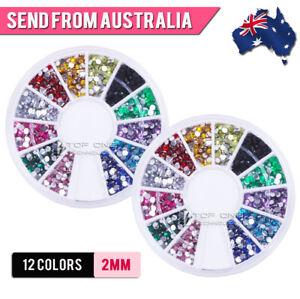 2 Boxes 12 Colors Nail Art Crystal Rhinestone 2mm Round Flatback Gems Decal 8x2