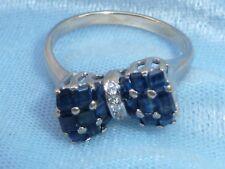 14K White Gold Ring, Bow Motif, 18 Sapphires, 3, 1mm Diamonds, Size 7.5