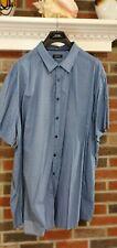 👔 4 XLT  ALFANI Button Down Men's Blue Checker Shirt Big & Tall Size