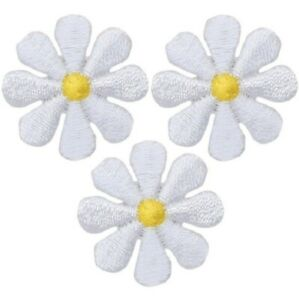 """Mini Daisy Applique Patch - Flower, Bloom, Gardening Badge 1"""" (3-Pack, Iron on)"""