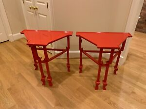 Two Custom Red Lacquered Accent Tables Very Good Condition