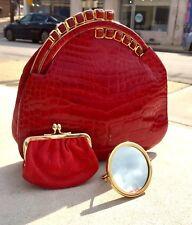 Judith Leiber Red Crocodile Skin Evening Shoulder Clutch Handbag w Coin Purse