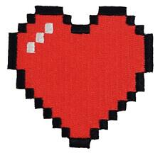 8-Bit Heart Video Game Embroidered Iron On Patch Applique New Gift