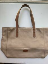 FOSSIL ZOEY Two Tone Tan Camel Pebble Leather Tote