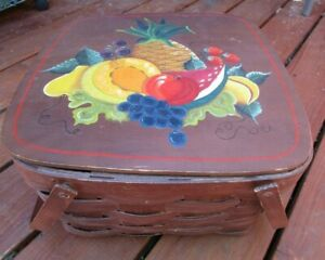 Large Woven Picnic Basket Hinged Handles Hand Painted Fruit design 13 x 13 x 8