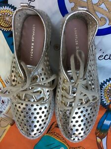 LOEFFLER RANDALL gold leather lace up espadrilles 35 BNWOT!!