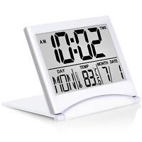 Betus Digital Travel Alarm Clock - Foldable Calendar Temperature Timer LCD Clock