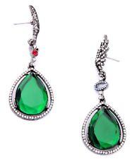 SILVER GUNMETAL EMERALD GREEN RED BLUE Crystal Rhinestone Designer Drop Earrings
