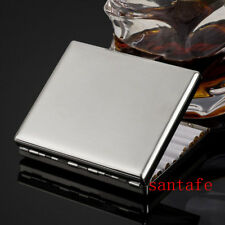 Stainless Steel Metal Silver Cigarette Case Holds 20 Cigarettes Gift For Father