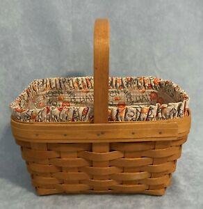 Longaberger Spring Basket Halloween Candy Corn Pumpkin Liner Protector COMBO