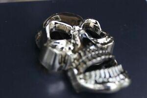 "♈ SKULL Movable Jaw!  ♈ mirror/ Silver Color  3.5""-4""x 2.5"" Skeleton Belt Buckle"