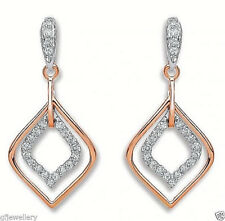 18CT HALLMARKED ROSE GOLD 0.30 CTS G/H SI PAVE SET DIAMOND DROP EARRINGS
