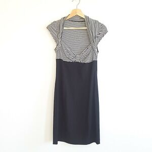 Tokito Womens Size 8 Black & White Striped Cap Sleeve A-Line Dress