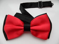 BLACK / RED 2 LAYER SATIN MEN'S BOW TIE WEDDING OFFICE,GOOD QUALITY
