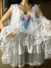 New listing Vtg Dbl layer Babydoll/Nightgown Full Sweep silky satin Negligee white 3pcs 3X-4
