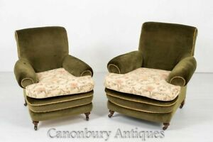 Victorian Club Chairs - 1880 Velour