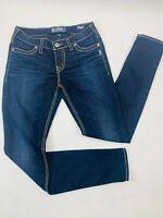 Silver Jeans Womens 29 Blue Suki Mid Rise Super Skinny Super Stretch Dark Wash