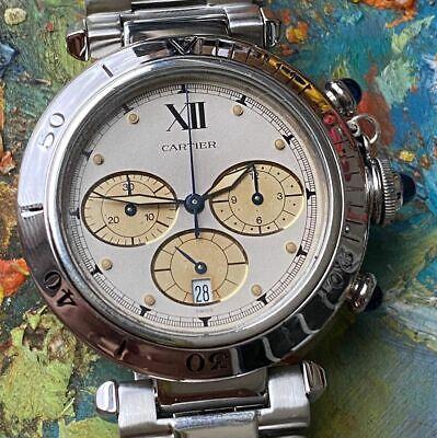 Cartier Pasha Chronograph Reference 1050 Men's Watch 100% Genuine Quartz