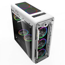 ATX/Micro ATX Gaming Computer PC Case Clear Side Window 170MM 8 Led Fans White