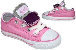 Infants Girls Converse All Star Pink Double Tongue Trainers Shoes Size UK 7