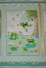 "Frogland Friends Frog Aqua Fabric Large Panel 23""  #1056P"