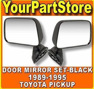 BLACK Side Door Mirror Set PAIR for 1989-1995 Toyota Pickup PU Truck w/vent