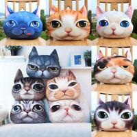 3D Plush Funny Cat Dog Face Fleece Throw Pillow Case Cushion Cover Decor Hot US
