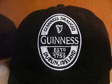 Guinness Draught Beer Logo Embroidered Ball Cap Hat Black/White Dublin Ireland