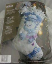"Bucilla Felt Christmas Stocking Kit Snowflake Snowman Finished Size 18"""