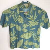 Tommy Bahama Men Blue Green Hawaiian Floral Print 100% Silk Casual Camp Shirt L