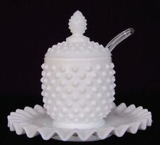 FENTON WHITE MILK GLASS HOBNAIL JAM/ JELLY JAR WITH LID, SPOON, UNDER PLATE- NIB