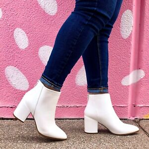 White Vegan Leather Ankle Boots