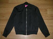YD Girls Black Satin Bomber Jacket Party Coat Age 10-11 146cm