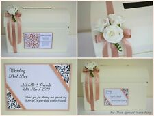 Personalised wedding card post box with flowers & optional guest book. MR & MRS